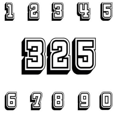 Dreistellige Startnummern in einfarbiger Ausführung