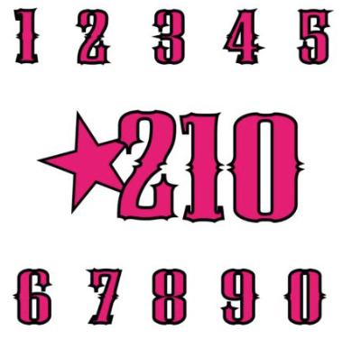 Zweifarbige Startnummern Aufkleber in frei wählbaren Höhen
